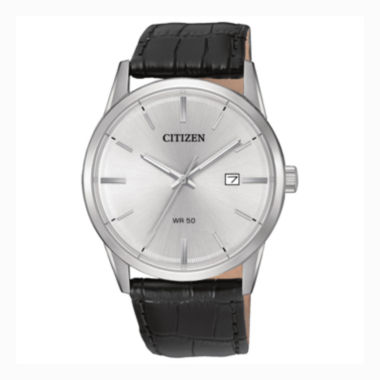 jcpenney.com | Citizen® Quartz Men'S Silver Tone And Black Stainless Steel Leather Strap Watch Bi5000-01A
