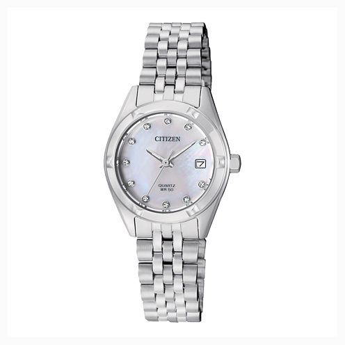 Citizen® Quartz Womens Silver Tone Stainless Steel Swarovski Crystal Accent Bracelet Watch Eu6050-59D