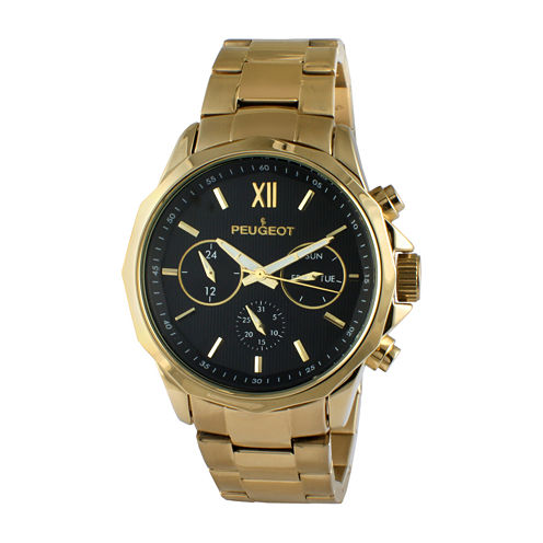 Peugeot® Men's Gold Tone And Black Multi Function Bracelet Watch 1046G
