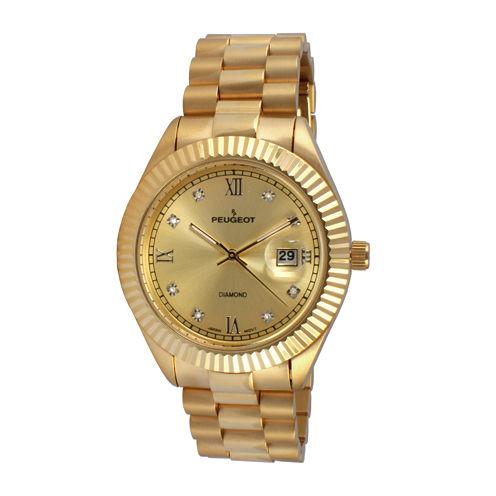Peugeot® Men's Gold Tone Stainless Steel Calendar Bracelet Watch 1053CH