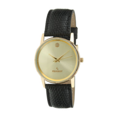 jcpenney.com |   Peugeot® Men's Gold Tone And Black Slim Leather Strap Watch 2043CH