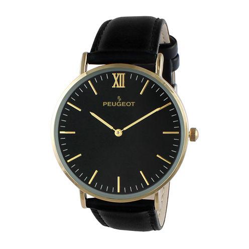 Peugeot® Men's Black Leather Ultra Slim Strap Watch 2050G