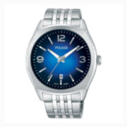 Pulsar® Womens Silver Tone Blue Dial Easy Style Bracelet Watch Ph8255