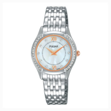 jcpenney.com | Pulsar® Ladies Silver-Tone with Swarovski Crystal Accents Watch PM2235