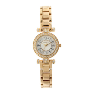 jcpenney.com | Elgin® Womens Gold Tone Crystal Accent T-Bar Bracelet Watch Eg9993