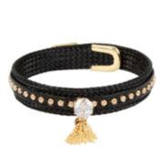 Bleu™ Gold-Tone Studded Tassel Charm Coil Bracelet
