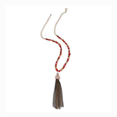 jcpenney.com | Mixit™ Red Beaded Gold-Tone Tassel Pendant