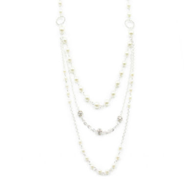 jcpenney.com | Vieste® Simulated Pearl & Crystal Silver-Tone Chain Necklace
