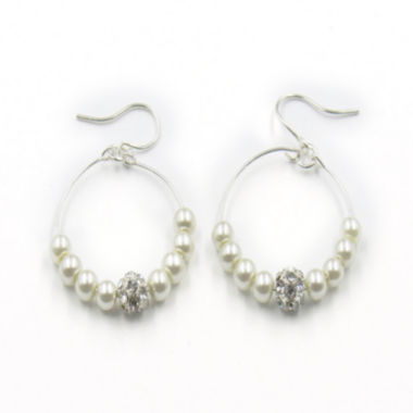 jcpenney.com | Vieste® Simulated Pearl & Crystal Silver-Tone Hoop Earrings