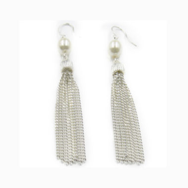 jcpenney.com | Vieste® Silver-Tone Simulated Rose Pearl & Crystal Tassel Drop Earrings