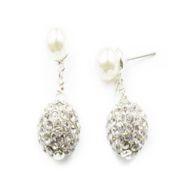 jcpenney.com | Vieste® Silver-Tone Simulated Rose Pearl & Crystal Fireball Drop Earrings