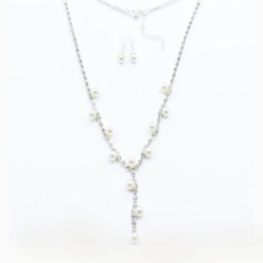 jcpenney.com | Vieste® Silver-Tone Simulated Rose Pearl & Crystal Y-Necklace and Earrings Set
