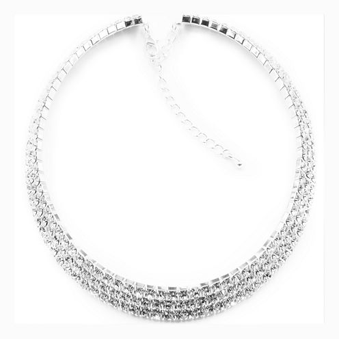 Vieste® Silver-Tone Crystal 3-Row Collar Necklace