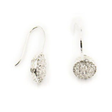 jcpenney.com | Vieste® Silver-Tone Crystal Pave Round Drop Earrings