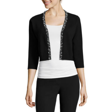 jcpenney.com | RN Studio by Ronni Nicole 3/4-Sleeve Pearl-Trim Sweater Shrug