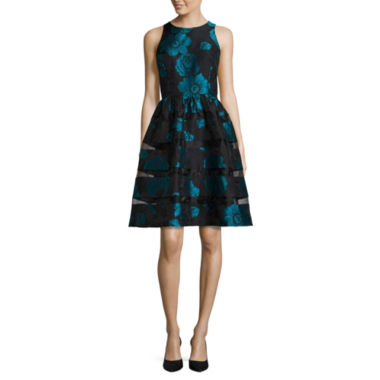 jcpenney.com | RN Studio by Ronni Nicole Sleeveless Floral Fit-and-Flare Dress W/Sheer Insets