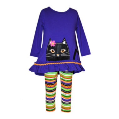 jcpenney.com | Bonnie Jean® 2-pc. Purple Cat Top and Leggings Set - Baby Girls 3m-24m