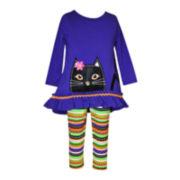 Bonnie Jean® 2-pc. Purple Cat Top and Leggings Set - Baby Girls 3m-24m