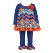 Bonnie Jean® 2-pc. Blue Dobby Top and Leggings Set - Baby Girls 3m-24m