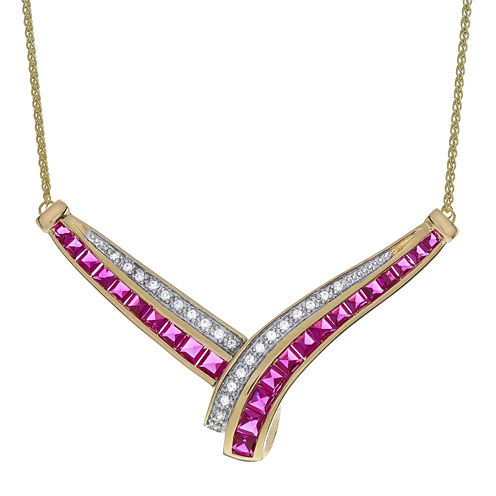 Lab Created Ruby & White Sapphire 14K Gold Over Silver Necklace