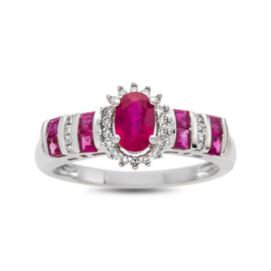 jcpenney.com | Glass Filled Rubyand Diamond Accent 10K White Gold Ring