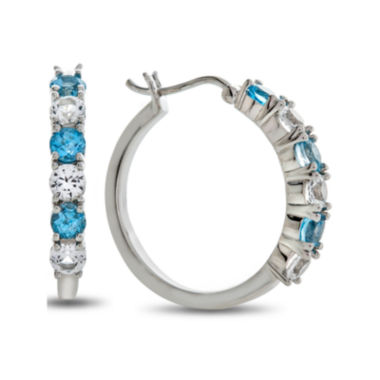 jcpenney.com | Genuine Blue Topaz And Lab Created White Sapphire Sterling Silver Hoop Earrings