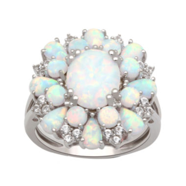 jcpenney.com | Lab Created Opal And White Sapphire Sterling Silver Ring