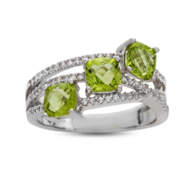jcpenney.com | Genuine Peridot And Lab Created White Sapphire Sterling Silver 3 Stone Ring