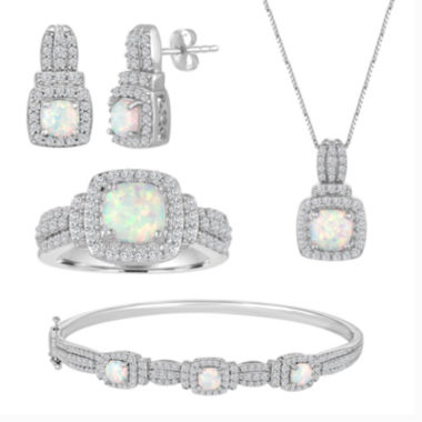 jcpenney.com | Lab-Created Opal And Cubic Zirconia Pure Silver Over Brass 4Pc Set