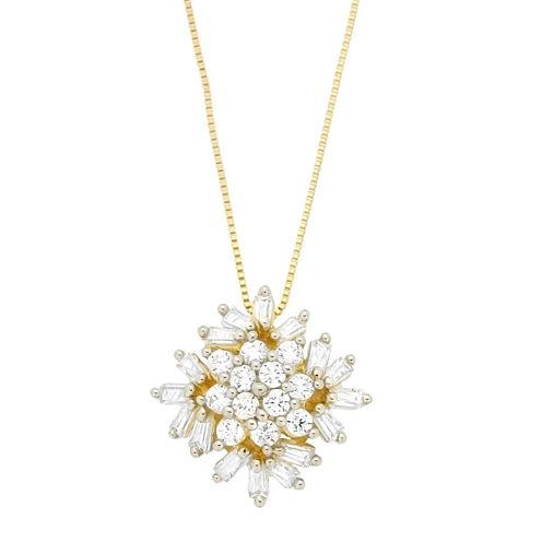 Diamond Blossom Womens 1/2 CT. T.W. White Diamond 10K Gold Pendant Necklace