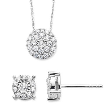 jcpenney.com | Diamond Blossom 1/5CTTW Diamond Miracle Plate Stud and Pendant in 10K White Gold