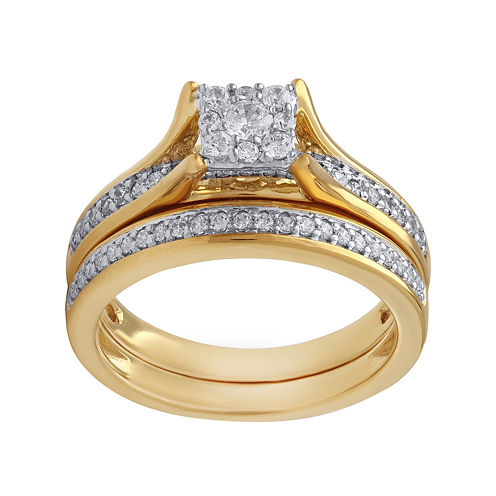 1/2 CT. T.W. Diamond 10K Two Tone Bridal Set