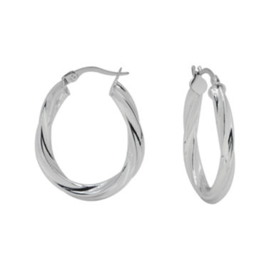 jcpenney.com | 14K White Gold Oval Twisted Hoop Earrings
