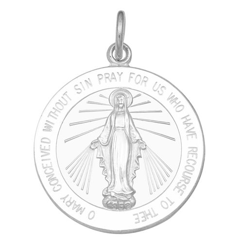 Sterling Silver Round Miraculous Medal Charm Pendant
