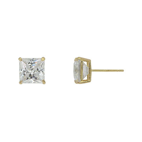 Diamonart® 10K Yellow Gold Cubic Zirconia 1.4 CT. T.W Princess Cut Stud Earrings