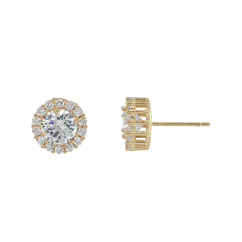 Diamonart® 10K Yellow Gold Cubic Zirconia 1.42 CT. T.W Round Halo Stud Earrings