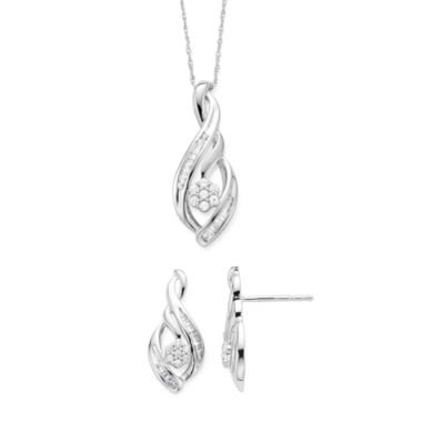 jcpenney.com | Diamond Blossom 1/4 CTTW Diamond Earring and Pendant in Sterling Silver