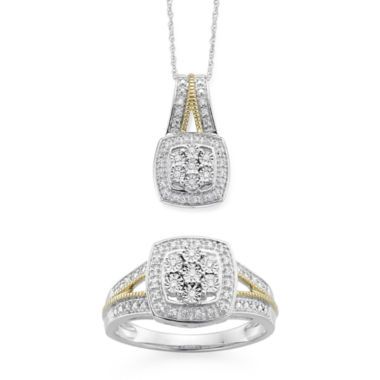 jcpenney.com | Diamond Blossom 1/10 CTTW Diamond Miracle Plate Cushion Ring and Pendant Sterling Silver with 14k Gold over Silver Accent