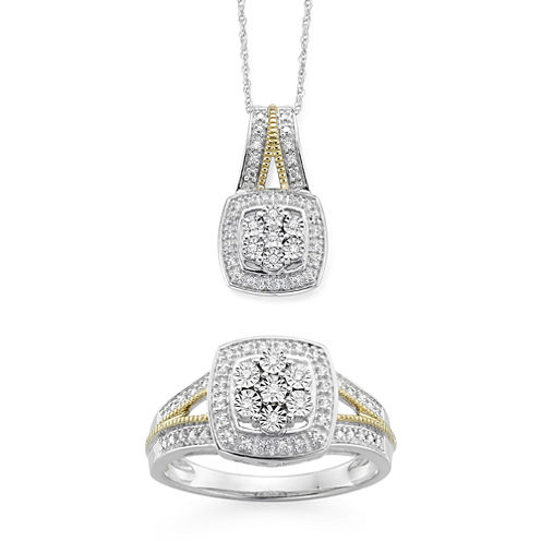 Diamond Blossom 1/10 CTTW Diamond Miracle Plate Cushion Ring and Pendant Sterling Silver with 14k Gold over Silver Accent