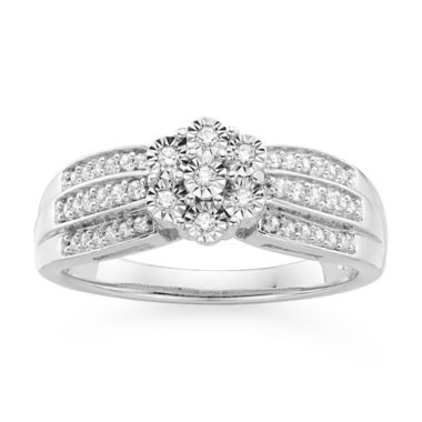 jcpenney.com | diamond blossom 1/5 CT. T.W. Diamond Triple Shank Sterling Silver Ring