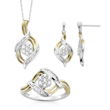 jcpenney.com | Diamond Blossom 1/4 CTTW Diamond Ring, Pendant and Earring in Sterling Silver with 14k Gold over Silver Accent