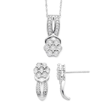 jcpenney.com | Diamond Blossom 1/10CTTW Diamond in Sterling Silver Pendant and Earring