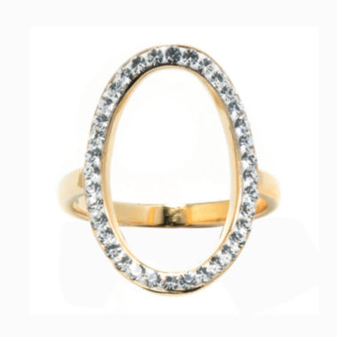 jcpenney.com | 14K Gold Over Silver Crystal Open Circle Ring