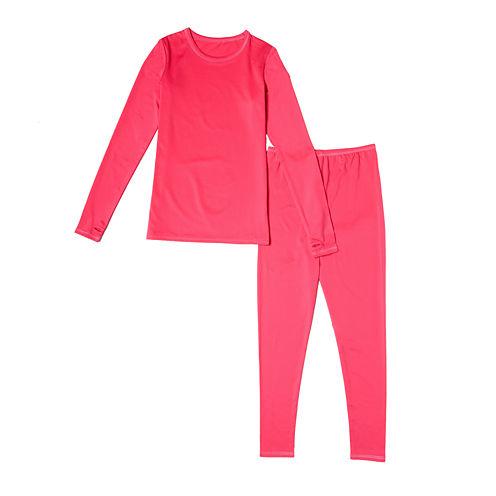 Cuddl Duds® 2-pc. Pink Solid Pajama Set - Girls 4-16