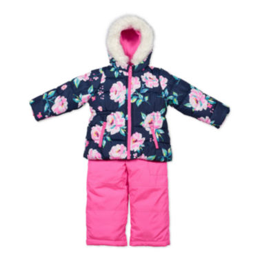 jcpenney.com | Carter's® Pink Floral Long-Sleeve Hooded Coat - Preschool  Girls