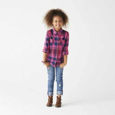 jcpenney.com | Long Sleeve Woven or Roll Cuff Jeans - Girls 7-16 and Plus
