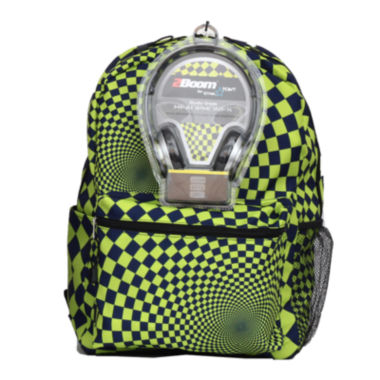 "jcpenney.com | Hypno Check Boys' 17"" Backpack with Headphones"