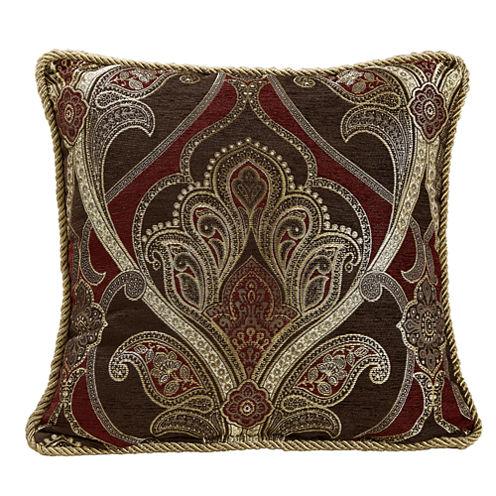 """Croscill Classics® Royal Red 18"""" Square Decorative Pillow"""