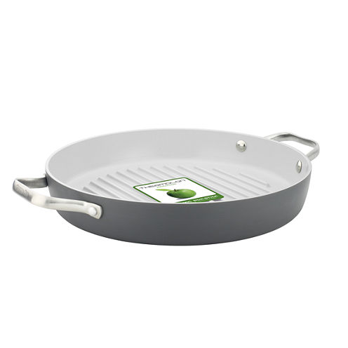 "GreenPan™ Padova 11"" Hard-Anodized Nonstick Round Grill Pan with 2 Side Handles"