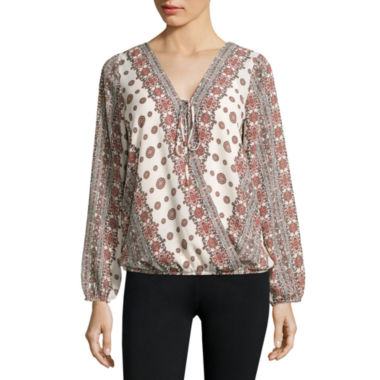 jcpenney.com | Alyx® Wrap-Front Long-Sleeve Woven Top